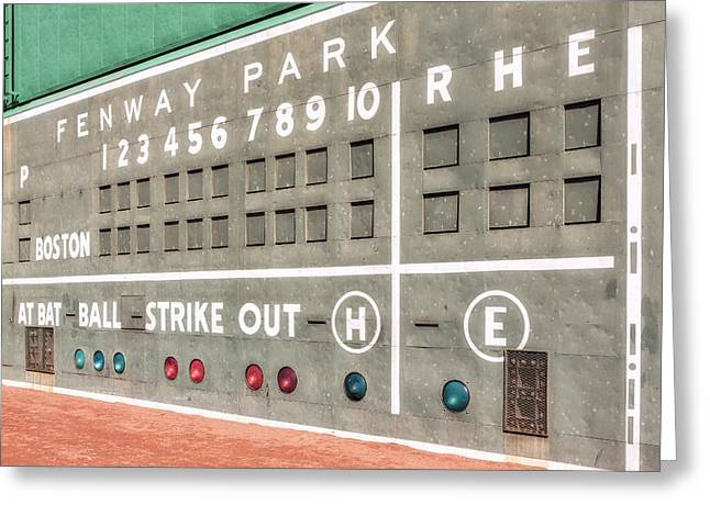 Recreation Building Greeting Cards - Fenway Park Scoreboard Greeting Card by Susan Candelario