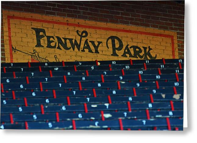 Boston Red Sox Greeting Cards - Fenway Park sign and Seats Greeting Card by Toby McGuire