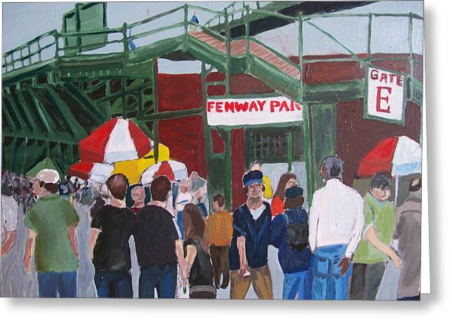 Fenway Park Paintings Greeting Cards - Fenway Park spring time Greeting Card by Carmela Cattuti