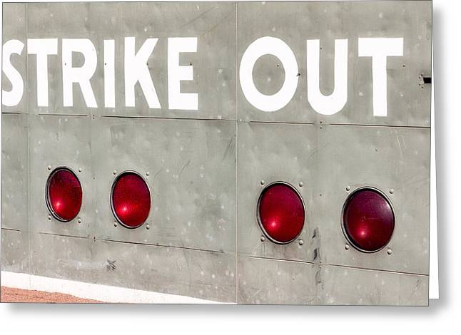 Recreation Building Greeting Cards - Fenway Park Strike - Out Scoreboard  Greeting Card by Susan Candelario