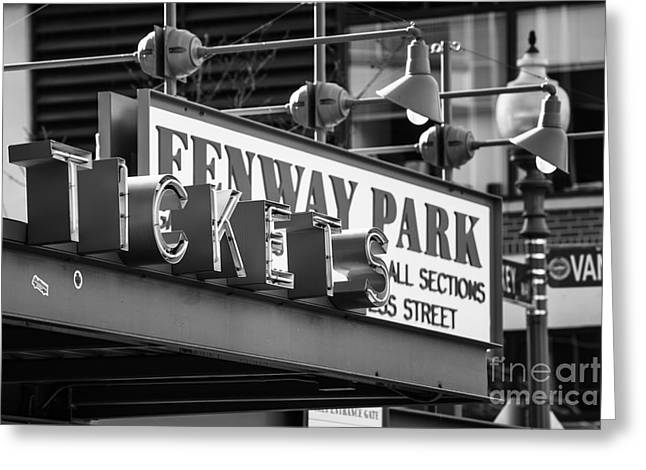 Tickets Boston Greeting Cards - Fenway Tickets bw Greeting Card by Jerry Fornarotto