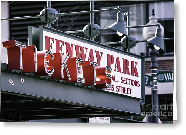Tickets Boston Greeting Cards - Fenway Tickets Greeting Card by Jerry Fornarotto