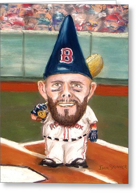 Red Sox Pastels Greeting Cards - Fenways Garden Gnome Greeting Card by Jack Skinner