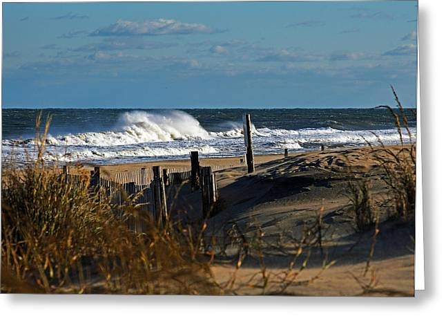 Recently Sold -  - Surf City Greeting Cards - Fenwick Dunes and Waves Greeting Card by Bill Swartwout