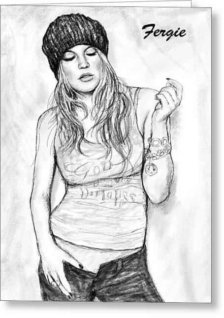 Charcoal Greeting Cards - Fergie art drawing sketch portrait Greeting Card by Kim Wang