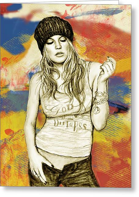 Featured Mixed Media Greeting Cards - Fergie - stylised drawing art poster Greeting Card by Kim Wang