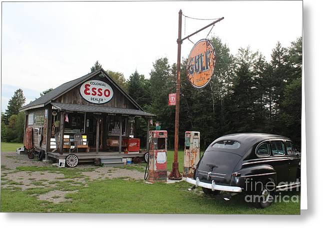 Historic Country Store Greeting Cards - Ferlands Service Station 2 Greeting Card by Joseph Marquis