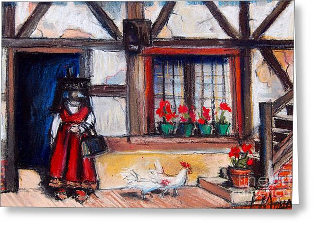 Red Claws Greeting Cards - Ferme Bressane Greeting Card by Mona Edulesco