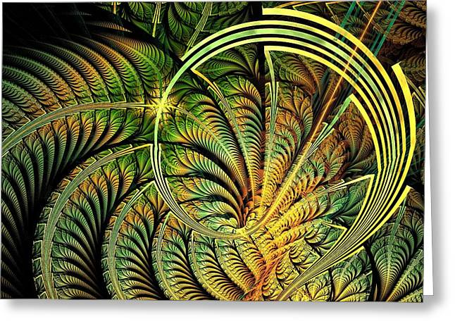 Shiny Mixed Media Greeting Cards - Fern Loop Greeting Card by Anastasiya Malakhova