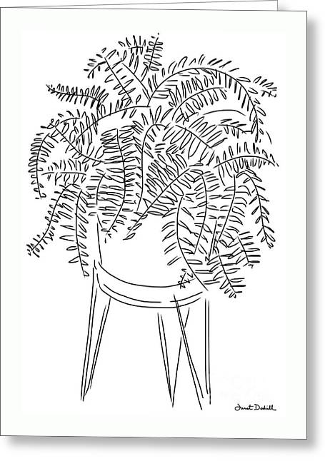 Tablets Drawings Greeting Cards - Fern Plant Greeting Card by Janet Dodrill