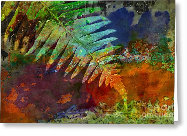 Close Focus Nature Scene Greeting Cards - Fern Watercolor Greeting Card by Jim Corwin