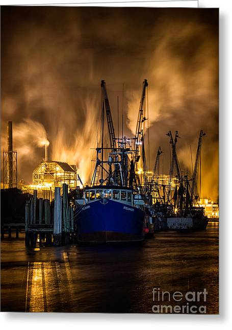 Beach At Night Greeting Cards - Fernandina Beach Shrimp Boats Amelia Island Florida Greeting Card by Dawna  Moore Photography