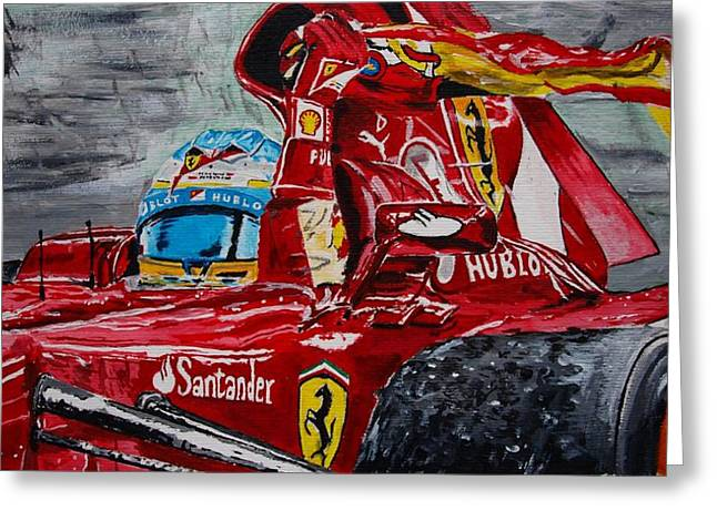 Sauber Greeting Cards - Fernando Alonso and Ferrari F10 Greeting Card by Juan Mendez