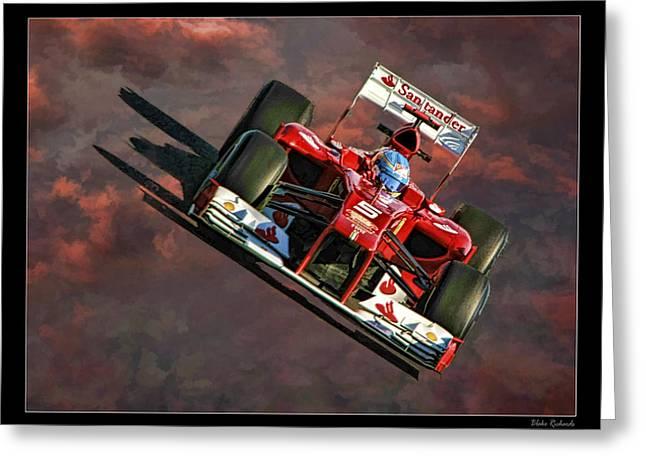 Blake Richards Greeting Cards - Fernando Alonso Ferrari Greeting Card by Blake Richards