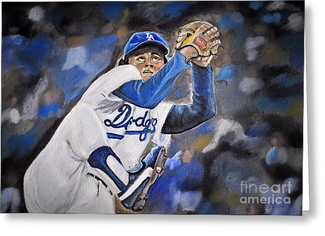 Rookie Of The Year Greeting Cards - Fernando Valenzuela Greeting Card by Nava  Thompson