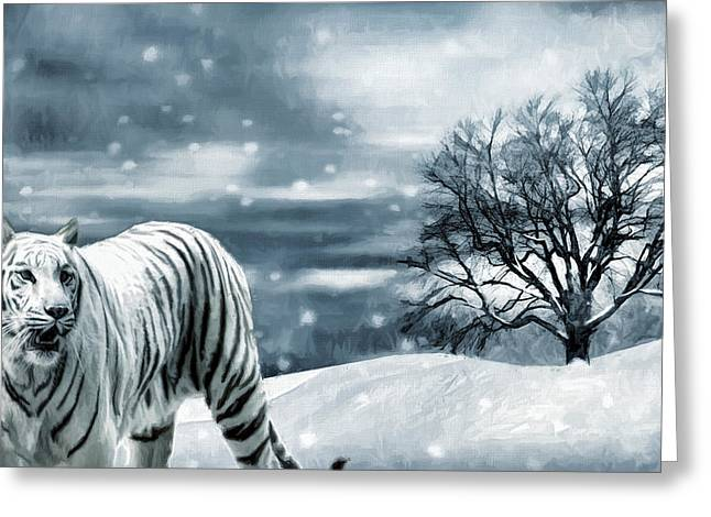 Tigers Digital Greeting Cards - Ferocious Beauty Greeting Card by Lourry Legarde