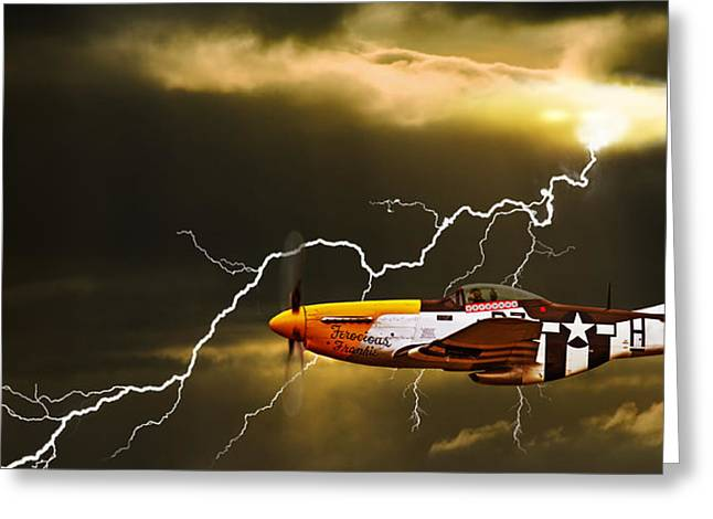 North American Aviation Greeting Cards - Ferocious Frankie In A Storm Greeting Card by Meirion Matthias