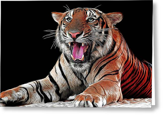 Asian Tiger Greeting Cards - Ferocious Tiger Greeting Card by Daniel Hagerman