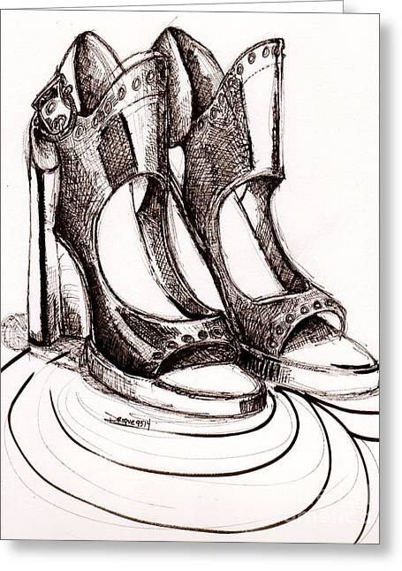 Apparel Drawings Greeting Cards - Ferragamo Greeting Card by Dallas Roquemore