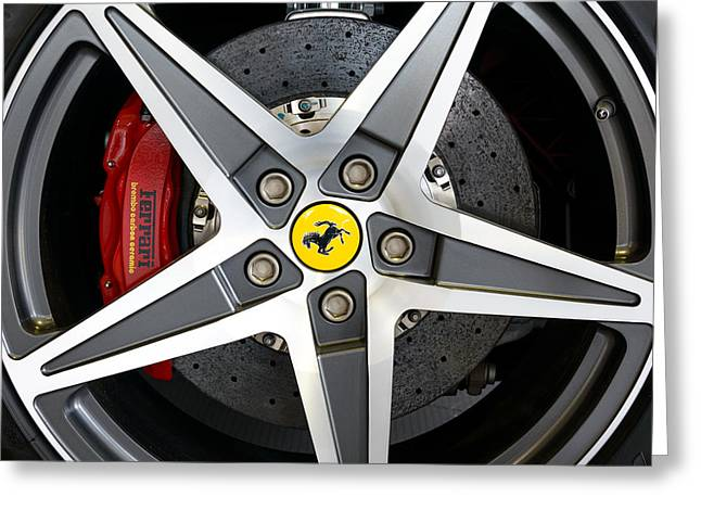 Ceramic Disk Greeting Cards - Ferrari alloy Greeting Card by Dutourdumonde Photography