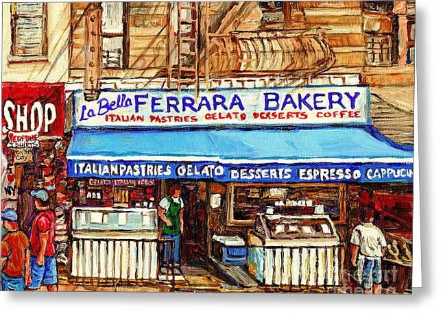 Capuccino Greeting Cards - Ferrara Bakery New York City Bakery Paintings Carole Spandau Greeting Card by Carole Spandau