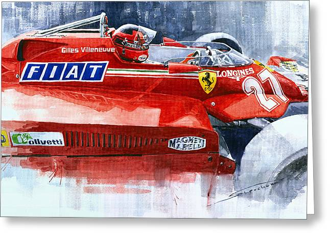 Ferrari 126c Silverstone 1981 British Gp Gilles Villeneuve Greeting Card by Yuriy Shevchuk
