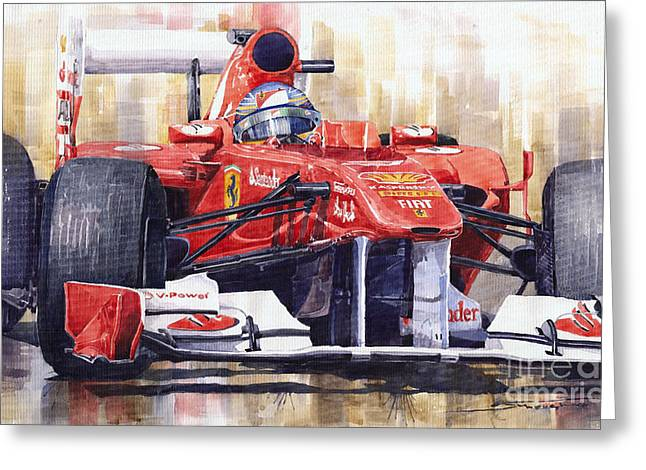 Racing Car Greeting Cards - Ferrari 150 Italia Fernando Alonso F1 2011  Greeting Card by Yuriy  Shevchuk