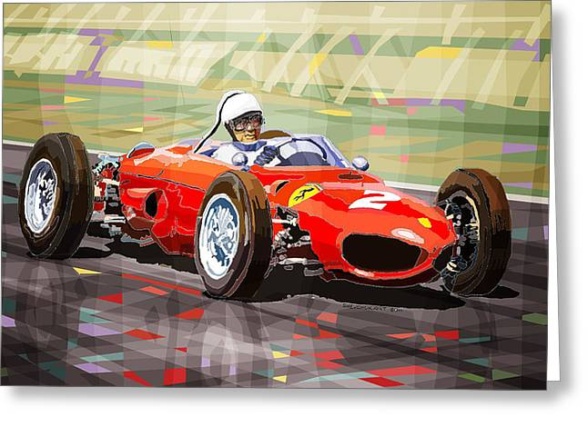 Phils Greeting Cards - Ferrari 156 Dino British GP1962 Phil Hill Greeting Card by Yuriy Shevchuk