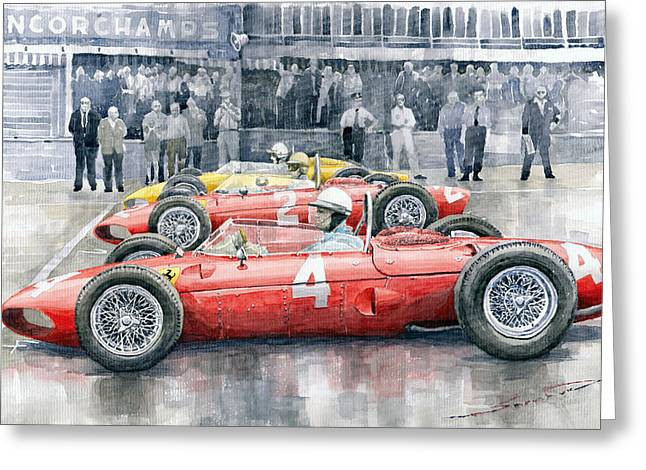 Phil Greeting Cards - Ferrari 156 Sharknose 1961 Belgian GP Greeting Card by Yuriy Shevchuk