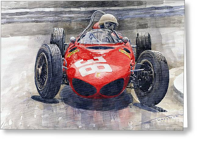 Vintage Auto Greeting Cards - Ferrari 156 Sharknose Phil Hill Monaco 1961 Greeting Card by Yuriy Shevchuk