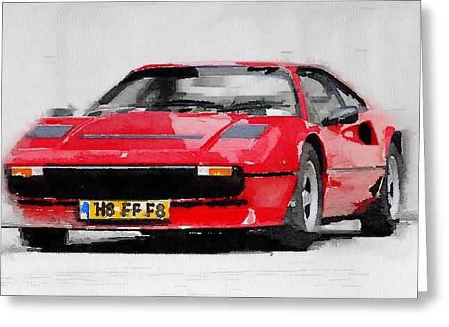 Classic Ferrari Greeting Cards - Ferrari 208 GTB Turbo Watercolor Greeting Card by Naxart Studio