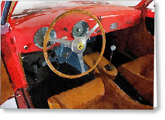 Classic Ferrari Greeting Cards - Ferrari 225 S Berlinetta Interior Watercolor Greeting Card by Naxart Studio