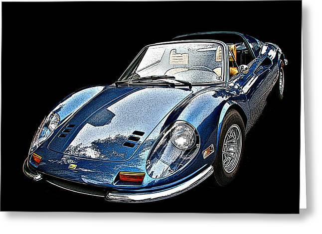 Sheats Greeting Cards - Ferrari 246 GT Dino 3/4 front view Greeting Card by Samuel Sheats