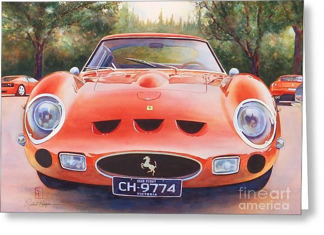 Automobilia Greeting Cards - Ferrari 250 GTO Greeting Card by Robert Hooper