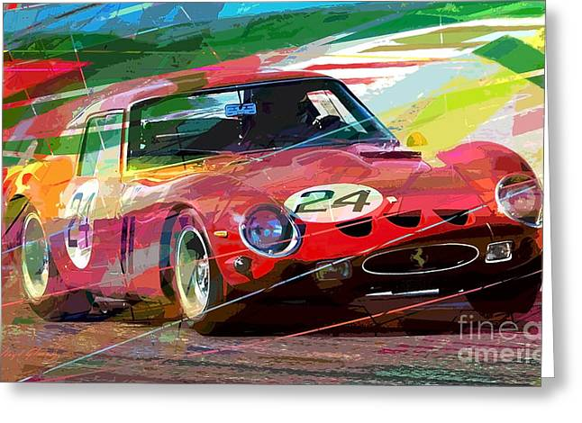Auto Racing Greeting Cards - Ferrari 250 GTO Vintage Racing Greeting Card by David Lloyd Glover