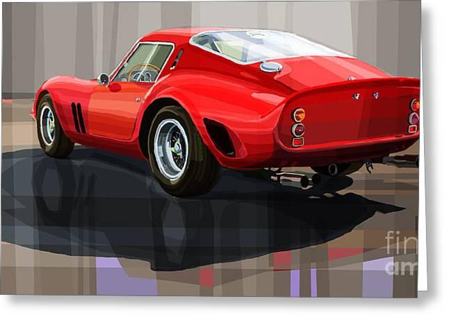 Classic Drawing Greeting Cards - Ferrari 250 GTO Greeting Card by Yuriy Shevchuk