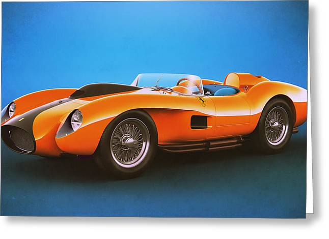 Stylish Car Greeting Cards - Ferrari 250 Testa Rossa - Vintage Racing Greeting Card by Marc Orphanos
