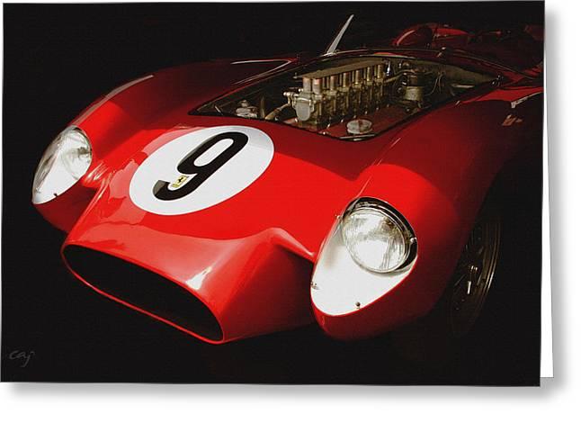 Curt Johnson Greeting Cards - Ferrari 250 TR 1958 Shadded Greeting Card by Curt Johnson
