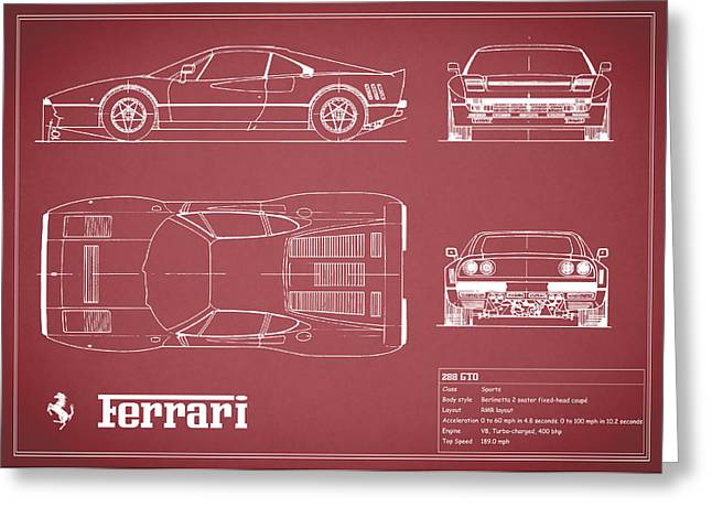 Ferrari Gto Classic Car Greeting Cards - Ferrari 288 GTO Blueprint - Red Greeting Card by Mark Rogan