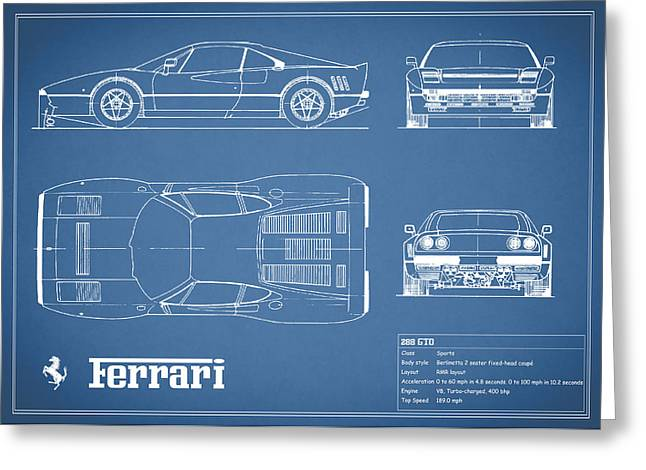 Ferrari Gto Classic Car Greeting Cards - Ferrari 288 GTO Blueprint Greeting Card by Mark Rogan