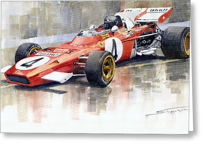 Racing Car Greeting Cards - Ferrari 312 B2 1971 Monaco GP F1 Jacky Ickx Greeting Card by Yuriy  Shevchuk