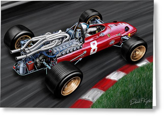 60s Greeting Cards - Ferrari 312 F-1 Car Greeting Card by David Kyte
