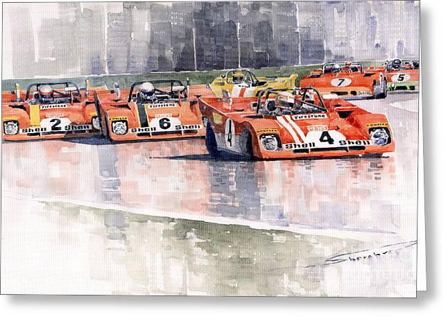 Red Ferrari Greeting Cards - Ferrari 312 PB Daytona 6 Hours 1972 Greeting Card by Yuriy  Shevchuk