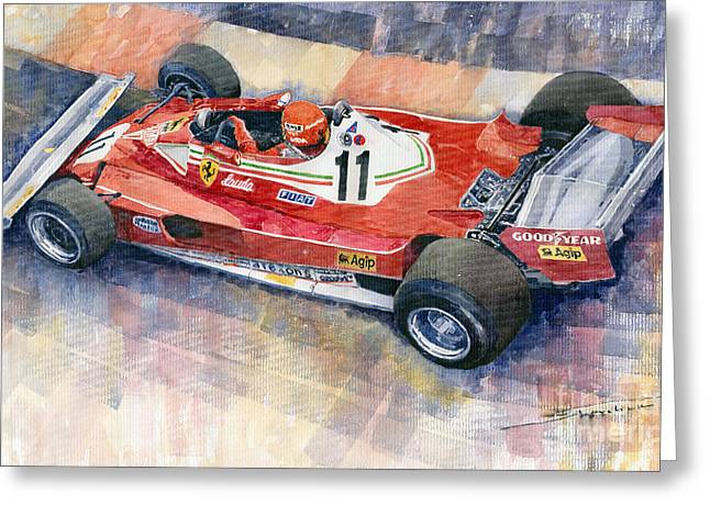 1977 Greeting Cards - Ferrari 312 T2 Niki Lauda 1977 Monaco GP Greeting Card by Yuriy  Shevchuk