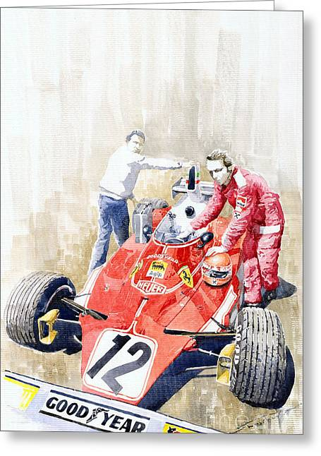 Monaco Greeting Cards - Ferrari 312T Monaco GP 1975 Niki Lauda winner Greeting Card by Yuriy  Shevchuk