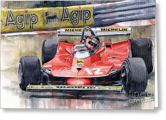 Monaco Greeting Cards - Ferrari  312T4 Gilles Villeneuve Monaco GP 1979 Greeting Card by Yuriy Shevchuk