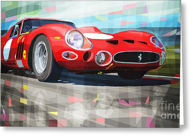 Classic Mixed Media Greeting Cards - Ferrari 330 GTO 1962 Greeting Card by Yuriy Shevchuk