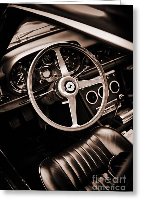 Window Interior Greeting Cards - Ferrari 330 Sepia Greeting Card by Tim Gainey