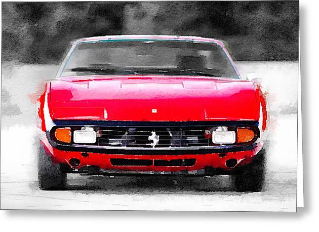 Italian Classic Car Greeting Cards - Ferrari 365 GTC4 Front Watercolor Greeting Card by Naxart Studio