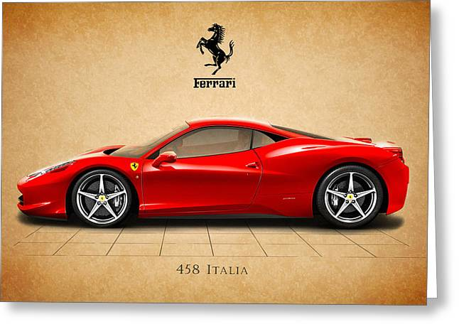 Classic Car Greeting Cards - Ferrari 458 Italia Greeting Card by Mark Rogan